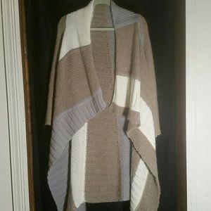 Shawl collar open front cardigan